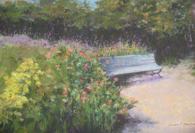 Teresa T. Brunson - PASTEL- SITTING AMONG THE FLOWERS