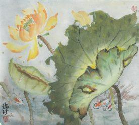 Darlene Kaplan - Yellow Lotus with Little Fish