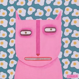 Charla Wilkerson - Pink Cat with Eggs