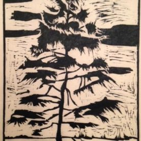 Susan Larimer - The Sentinel Woodcut